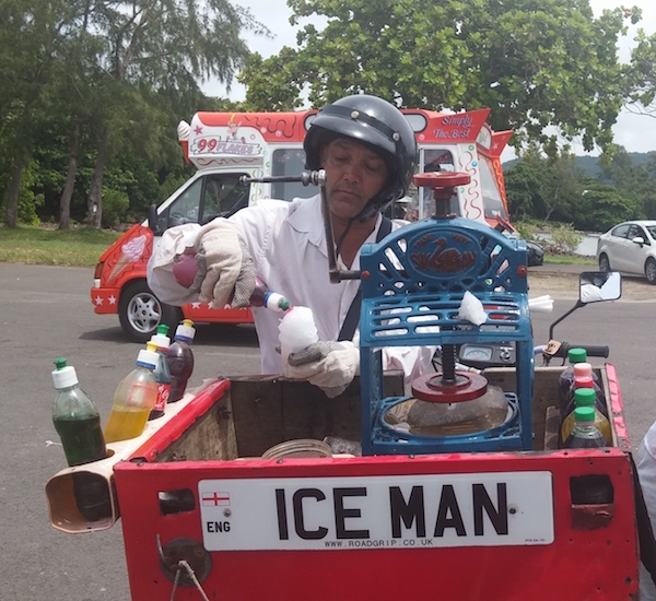 Ice man at Mahebourg waterfront