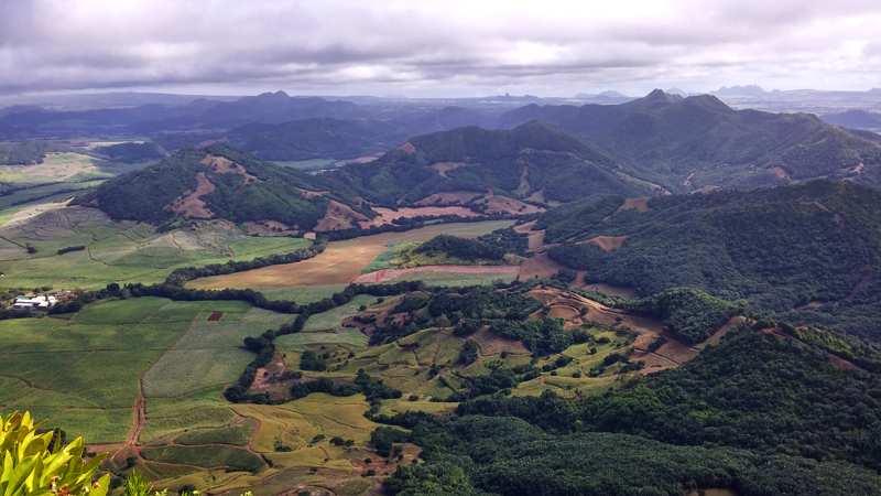 Hiking Lion Mountain. View from the top of Lion Mountain in Mahebourg, Mauritius