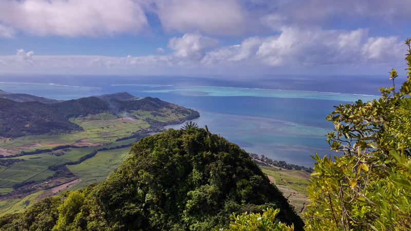 View of the bay of Mahebourg when hiking Lion Mountain