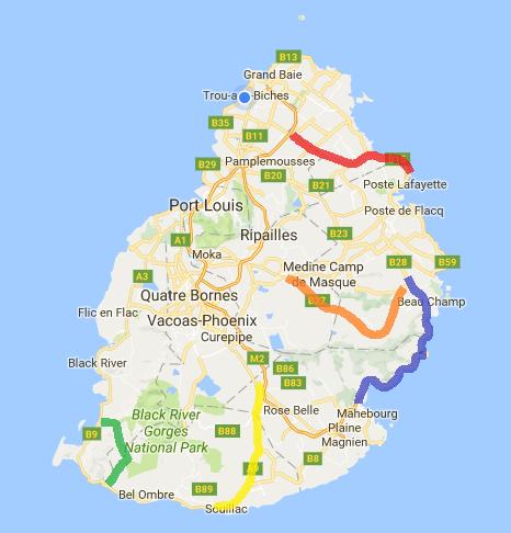 road trip routes in mauritius