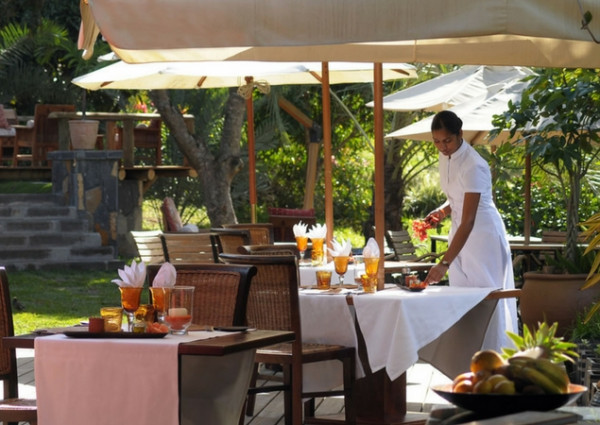Open-air restaurant at Lakaz Chamarel