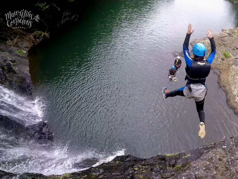 Waterfall jumping in Mauritius